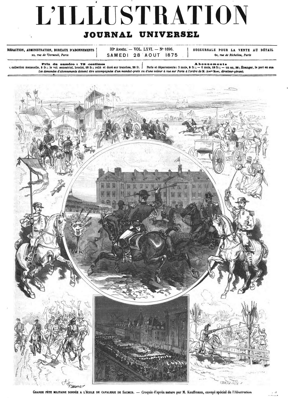 Grande fête donnée à l'école de cavalerie de Saumur. 1875