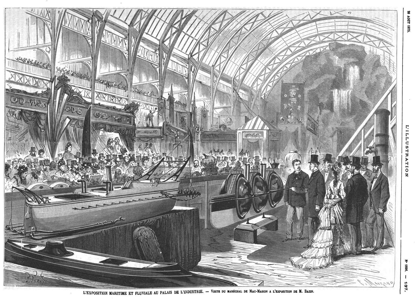 L'exposilion maritime et fluviale au palais de l'Industrie : visite du maréchal de Mac-Mahon à l'exposition de M. Bazin. 1875