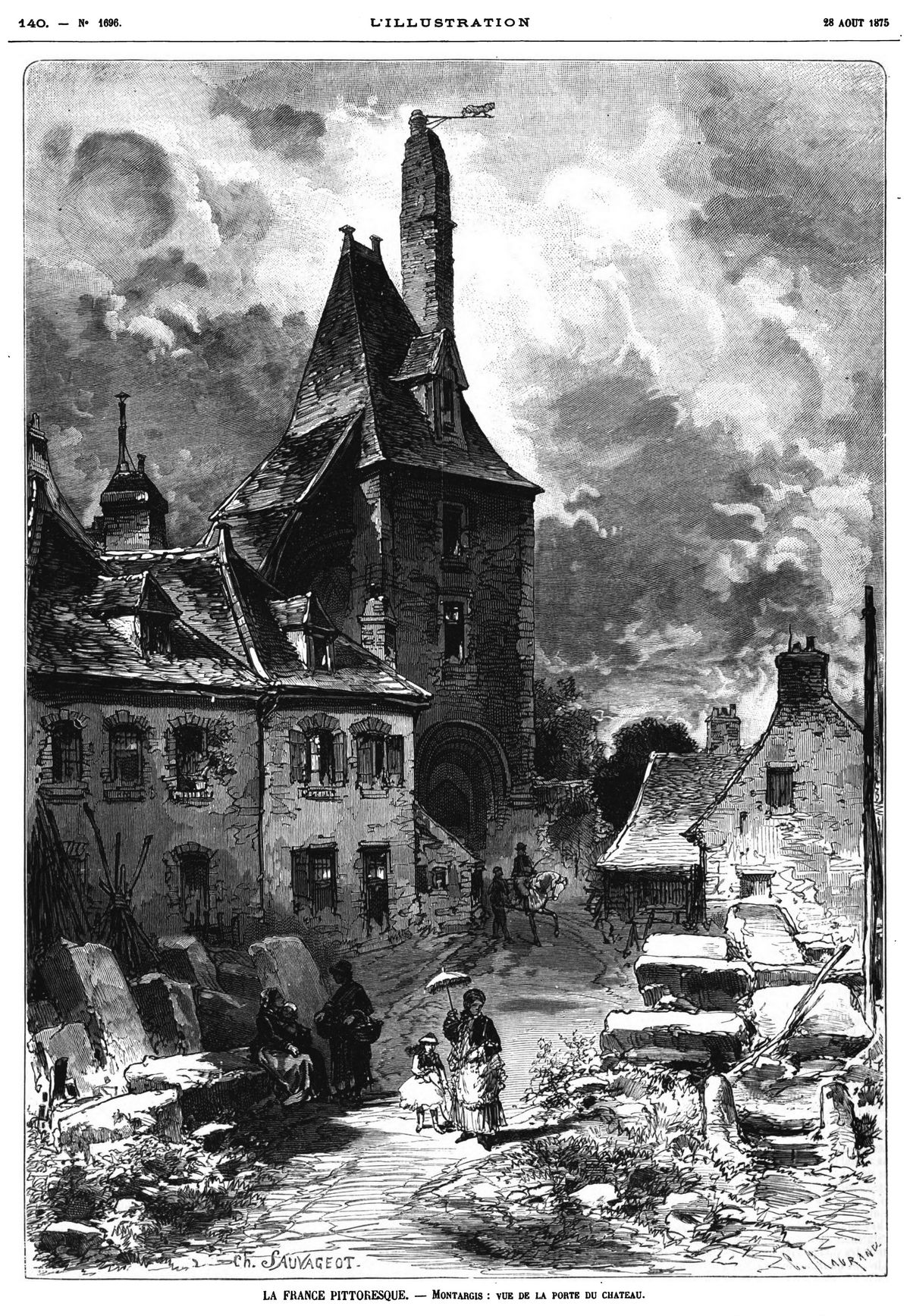 La France pittoresque : Montargis ; vue de la porte du château. 1875