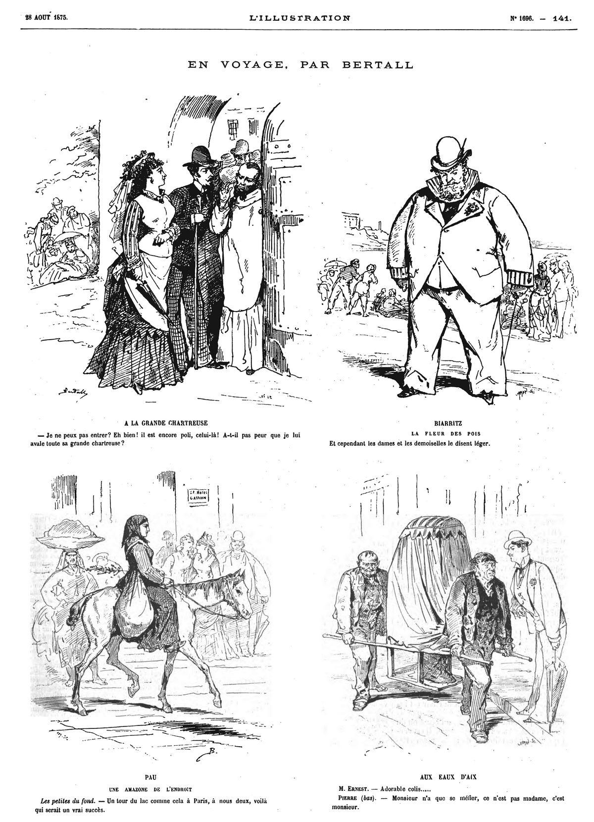 En voyage, par Bertall (4 sujets). 1875