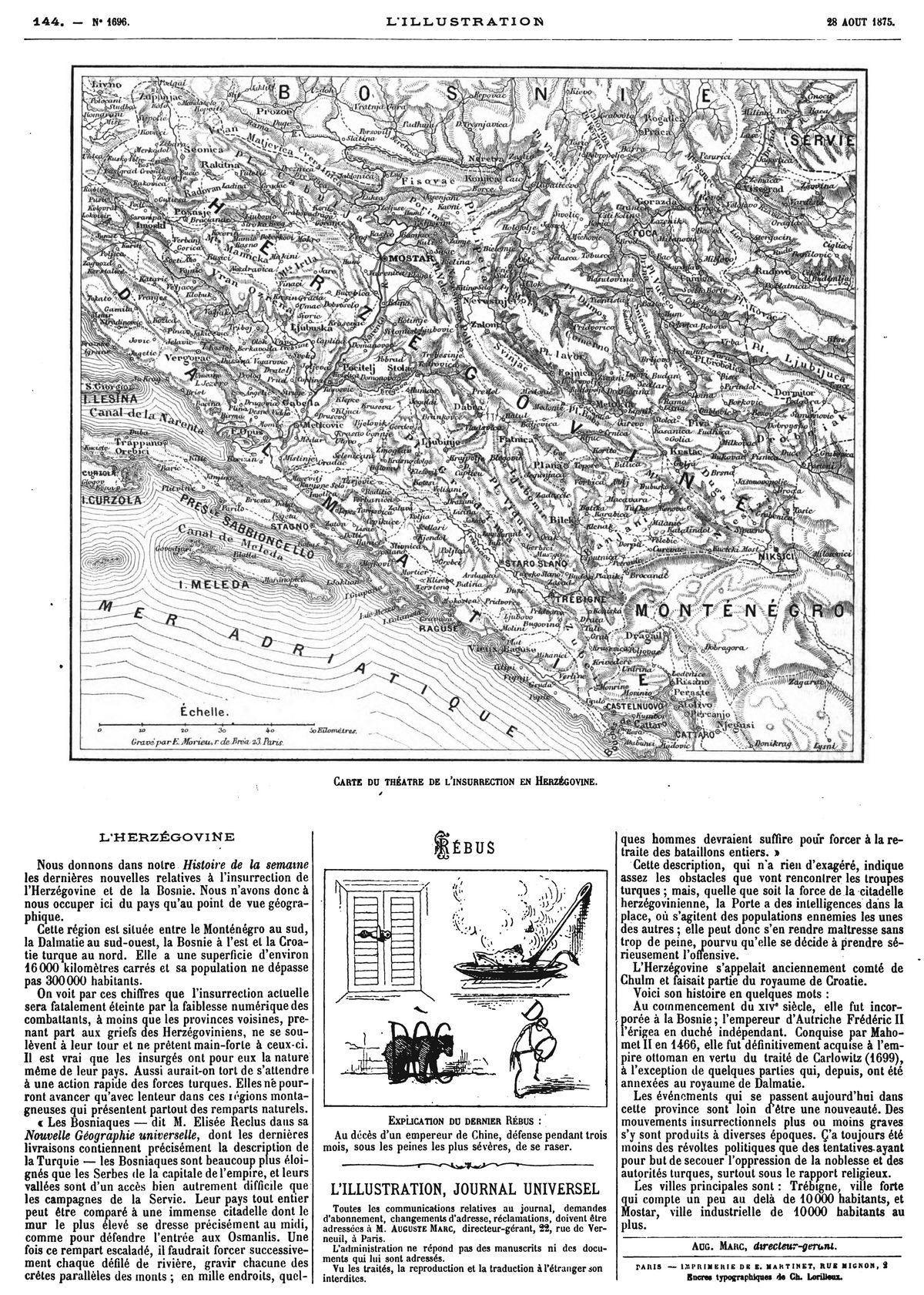 Carte de l'Herzégovine. 1875