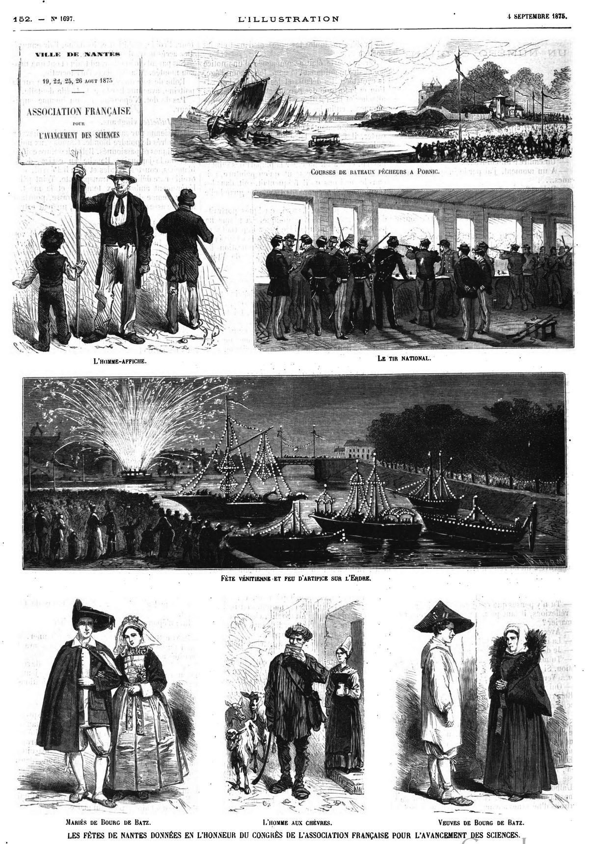 Les fêtes de Nantes données en l'honneur du Congrès de l'Association française pour l'avancement des sciences (7 gravures).
