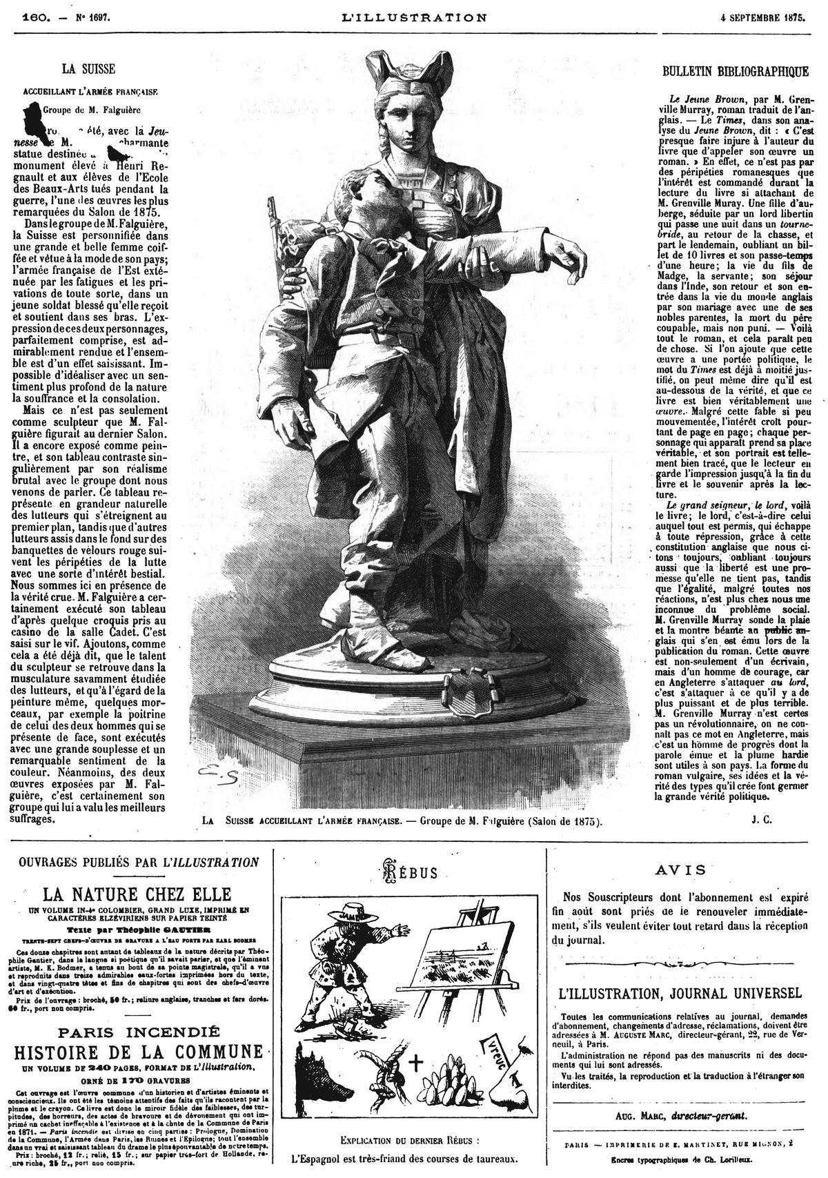 La Suisse accueillant l'armée française, groupe de M. Falguière (Salon de 1875).