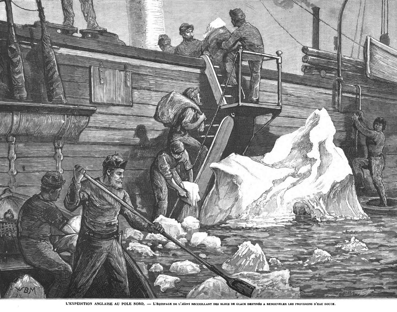L'expédition au pôle Nord : l'équipage de Valert recueillant des blocs de glace destinés à renouveler les provisions d'eau douce; 1875