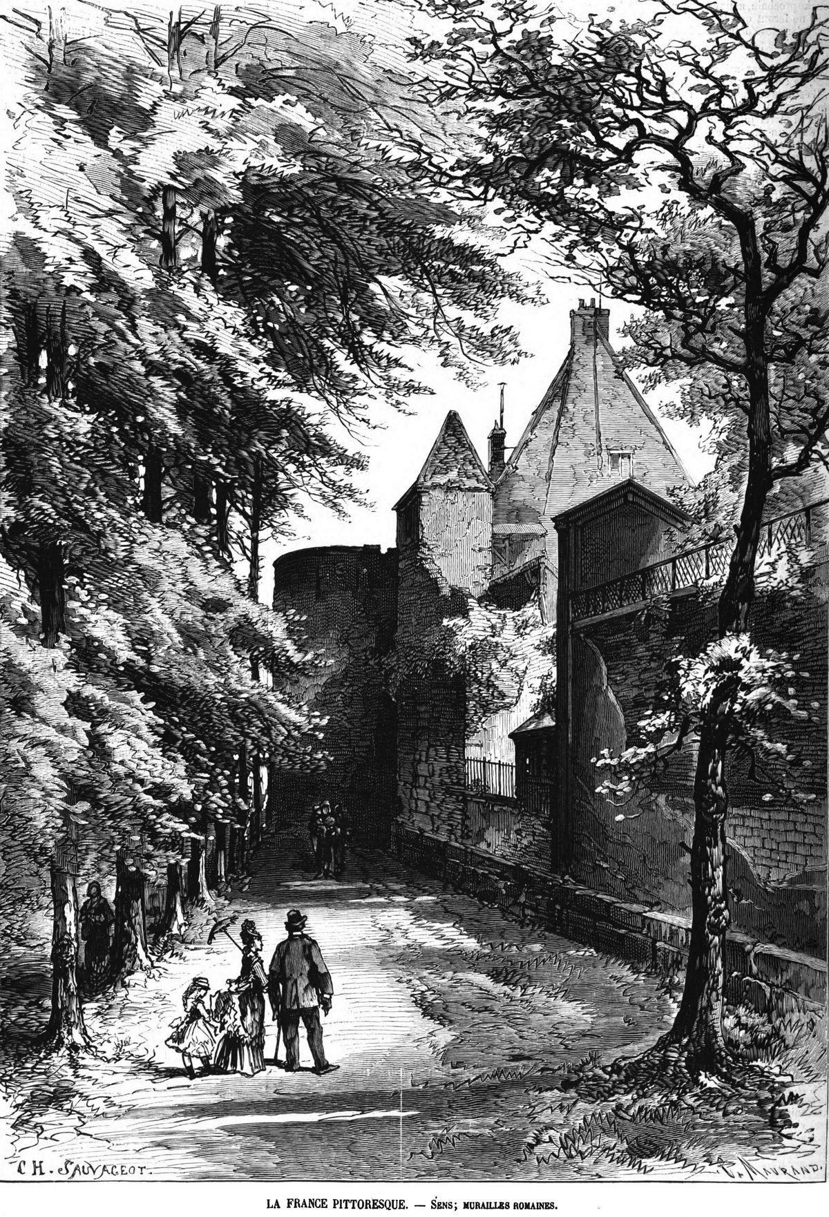 La France pittoresque : Sens; murailles romaines. 1875