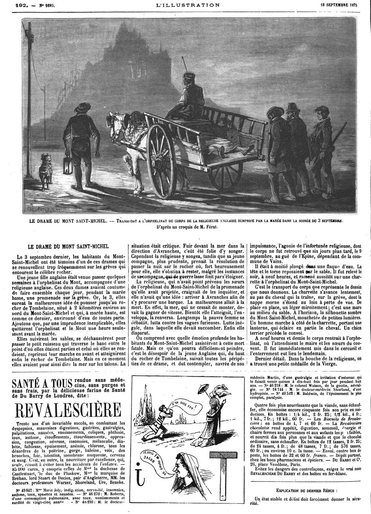 Le drame du Mont Saint-Michel : transport à l'orphelinat du corps de la religieuse anglaise surprise par la marée dans la soirée du 3 septembre. 1875
