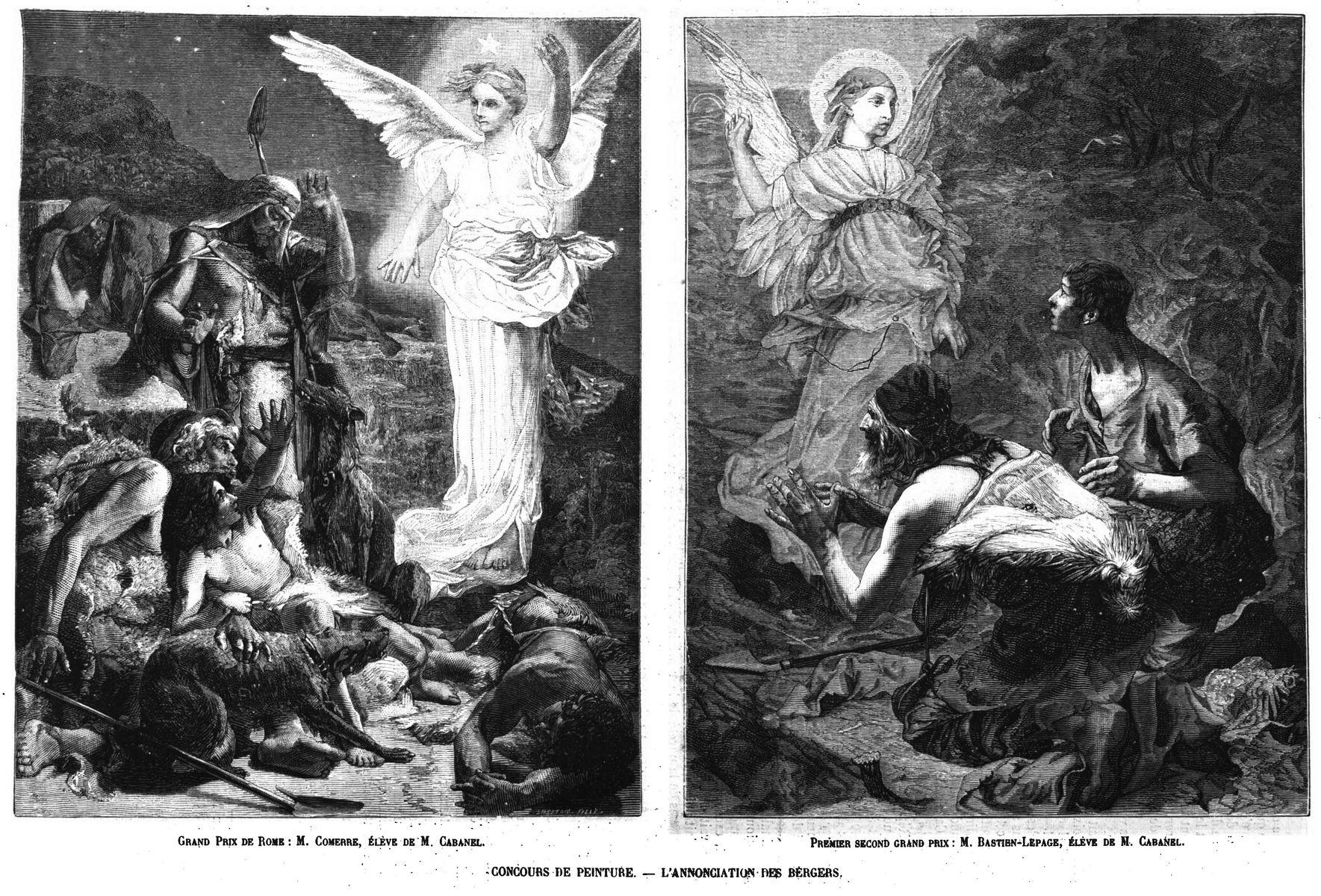 Le concours des grands Prix de Rome à l'Ecole des Beaux-Arts; concours de peinture: Annonciation des bergers (2 gravures). 1875