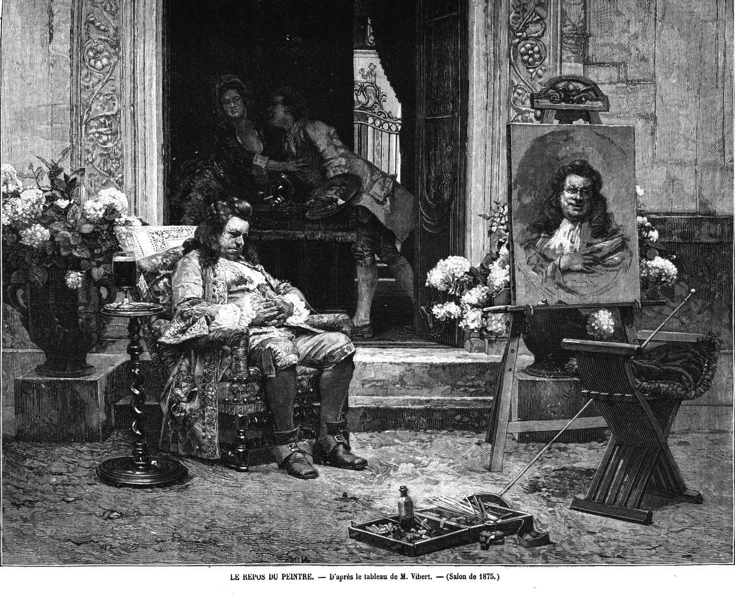 Le repos du peintre, d'après le tableau de M. Vibert. 1875