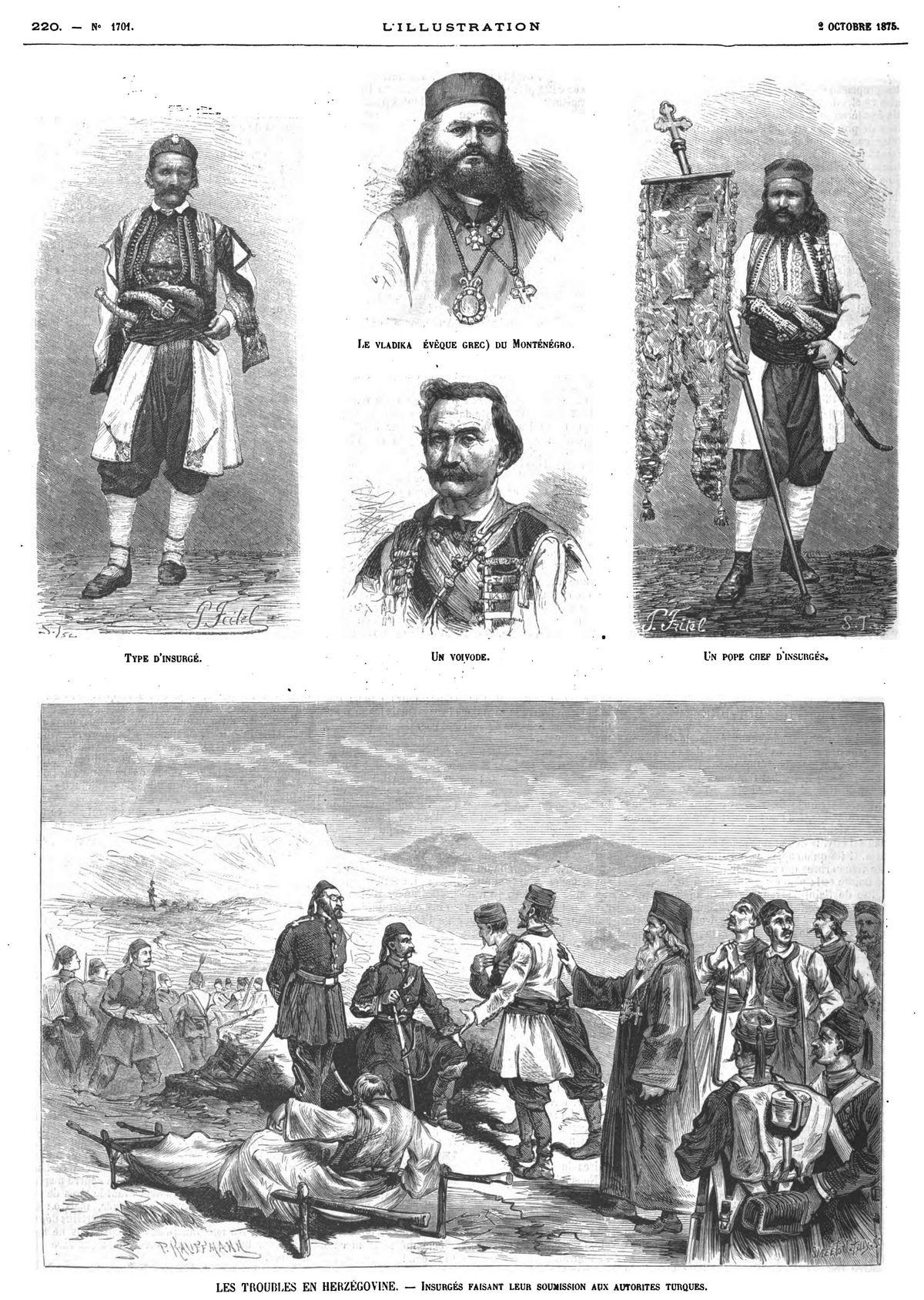 Les troubles de l'Herzégovine (5 gravures). 1875