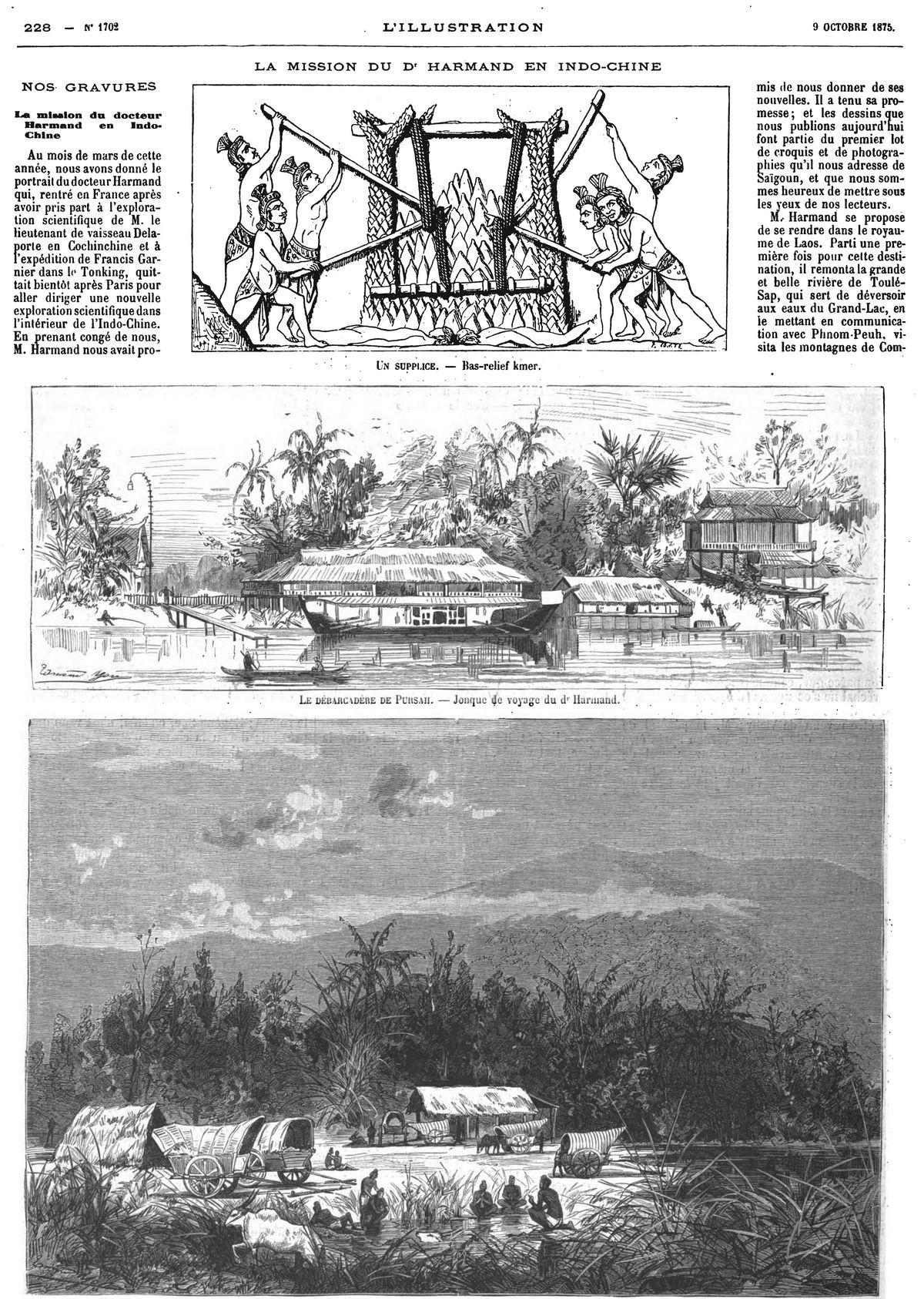 La mission du docteur Harmand en Indochine (3 gravures). 1875