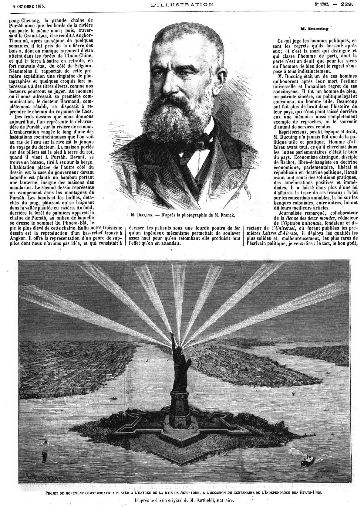 M. Ducuing. 1875 — Projet de monument commémoratif à élever à l'entrée de la baie de New-York, à l'occasion du centenaire de l'indépendance des Etats-Unis. 1875