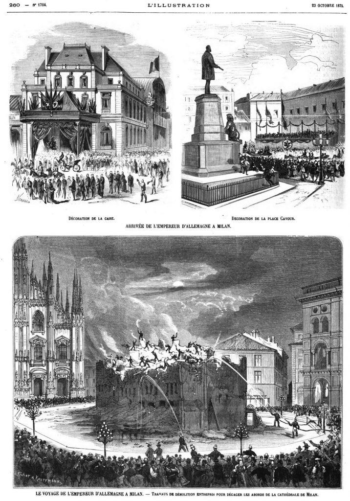 Décoration de la gare; 1875 — Décoration de la place Cavour; 1875 — Travaux de démolition entrepris pour dégager les abords de la cathédrale de Milan ; 1875