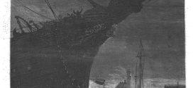 L'illustration journal universel n° 1708. Le paquebot la Ville-de-Paris poussé par la tempête en travers de la passe du Havre. 1875