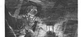L'illustration journal universel n° 1709. Les épaves du Magenta : un plongeur, muni du scaphandre et de la lampe sous-marine Denayrouze, explorant l'intérieur du navire;