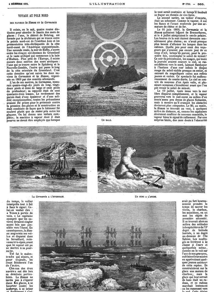 Voyage au pôle Nord des navires la Hansa et la Germania (4 gravures). 1875