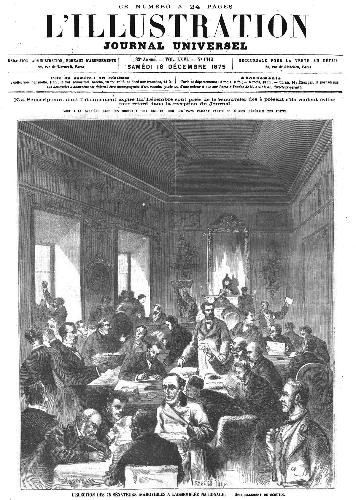 L'élection des 75 sénateurs inamovibles à l'Assemblée nationale : Dépouillement du scrutin. Gravure 1875