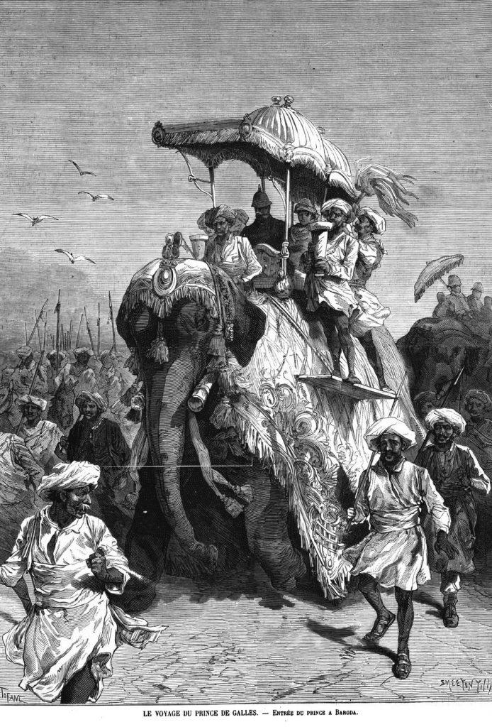 Le voyage du prince de Galles : entrée du prince à Baroda; 1875
