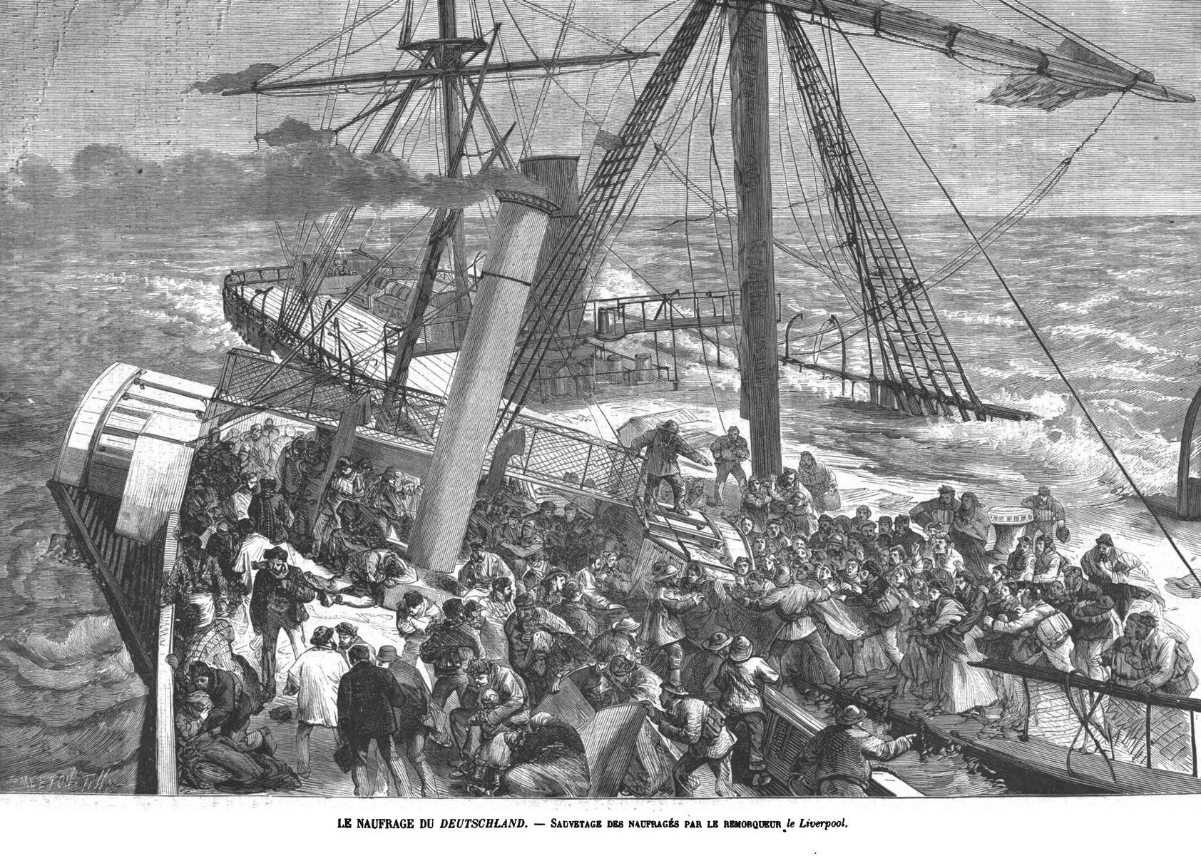 Le naufrage du Deutschand - Sauvetage des naufragés par le remorqueur le Liverpool. 1875