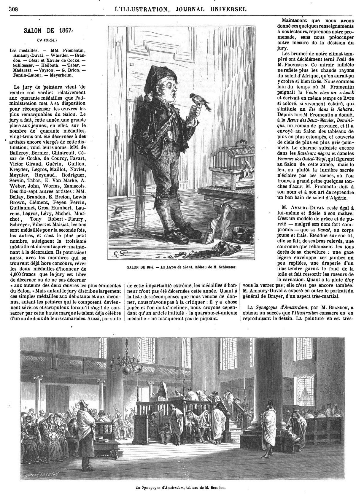 SALON DE 1867. — La Leçon de chant, tableau de M. Schloesser.