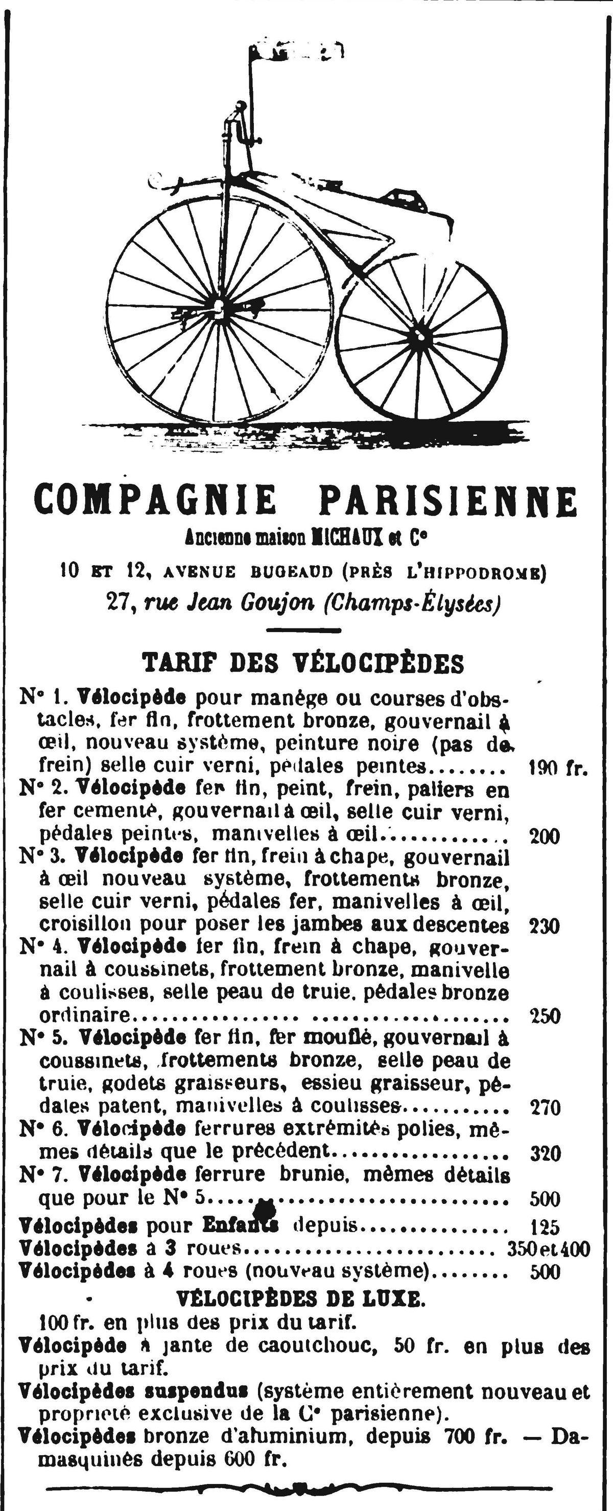 Publicité pour un magasin de VÉLOCIPÈDES