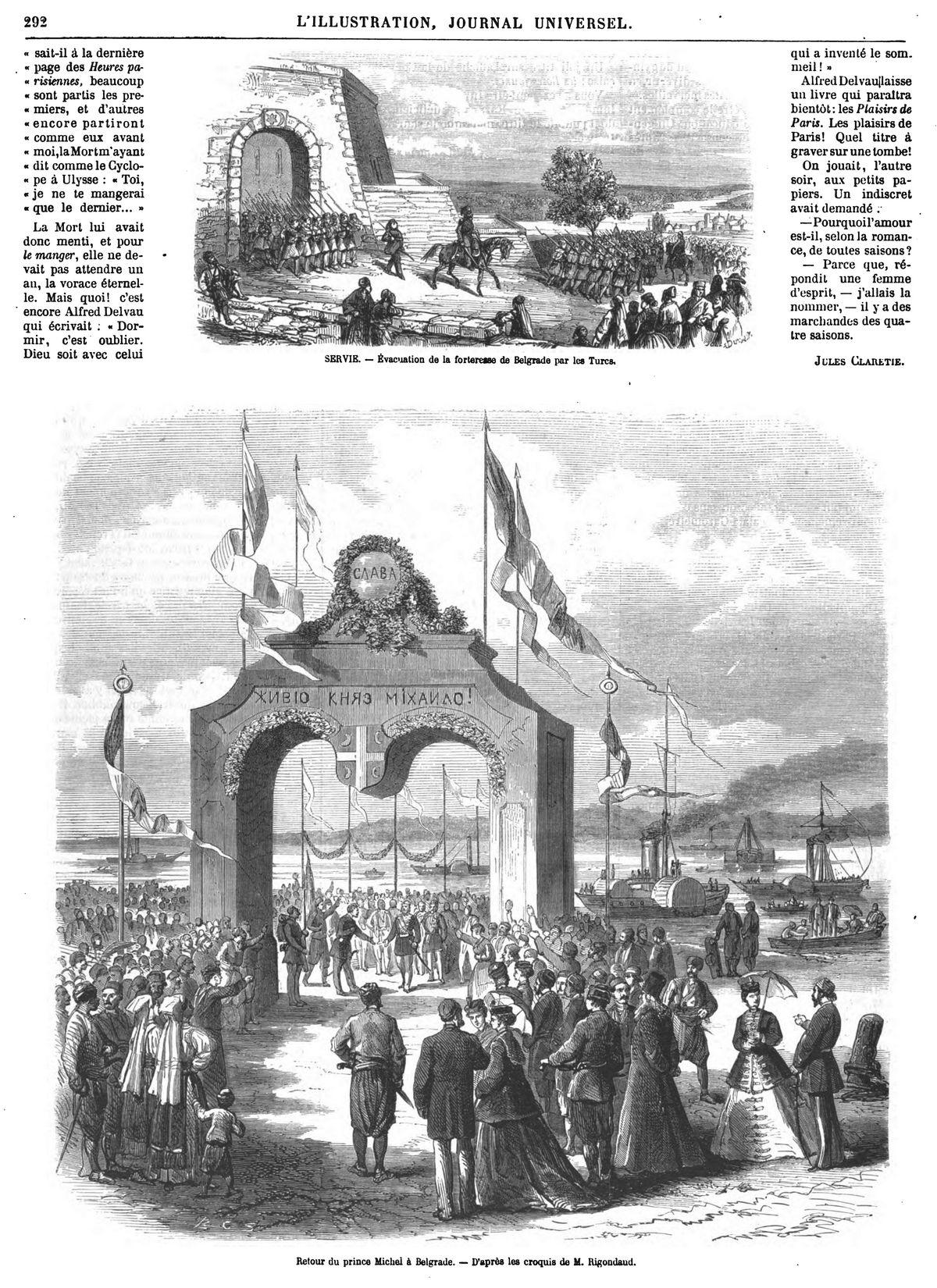 Retour du prince Michel à Belgrade. — D'après les croquis de M. Rigondaud.