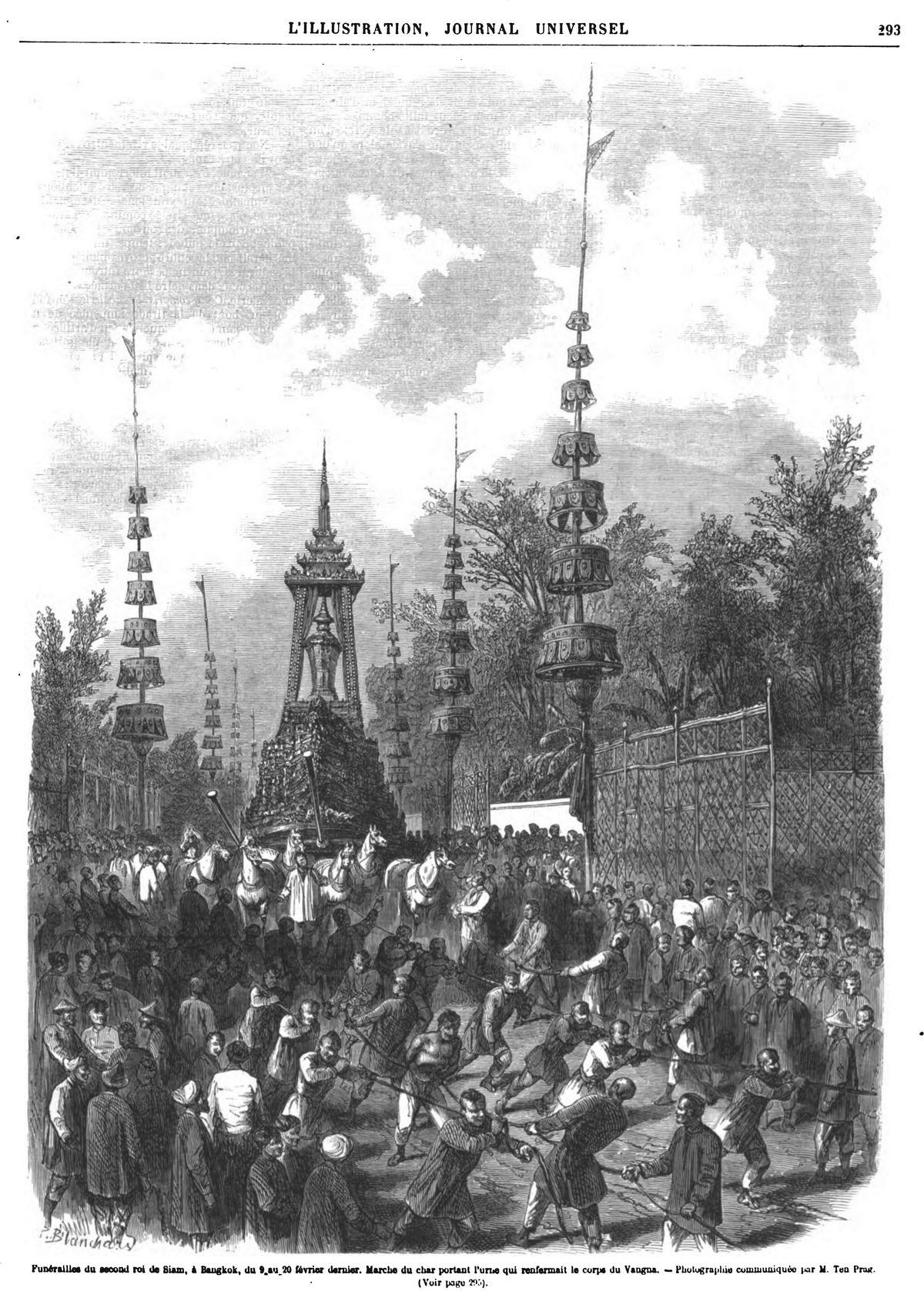 Funérailles du second roi de Siam, à Bangkok, du 9.au 20 février dernier. Marche du char portant l'urne qui renfermait le corps du Vangna. - Photographie communiquée Par M. Ten Prag.
