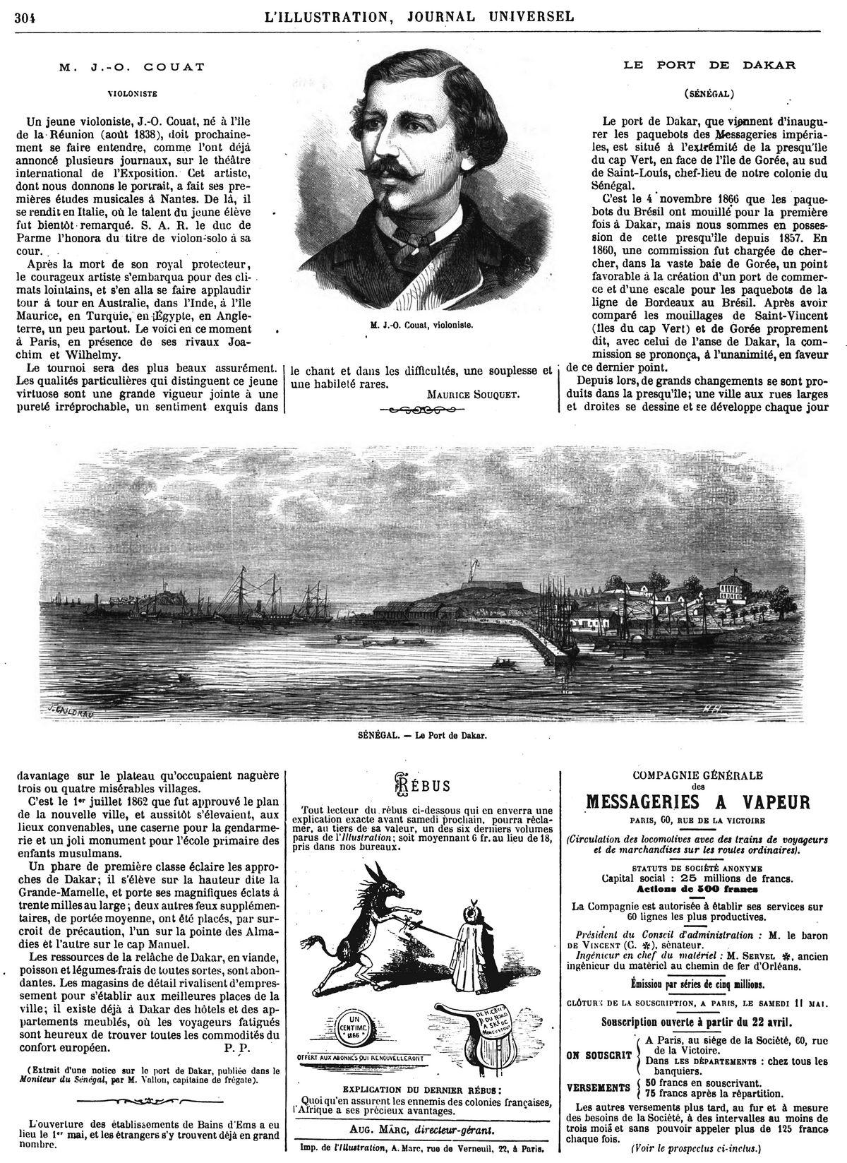 SÉNÉGAL. - Le Port de Dakar. 1867