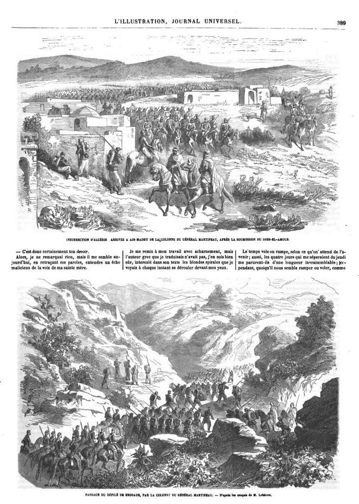 Arrivée à-Aïn-Madry de la colonne du général Martineau, après la soumission du Djeb-el-Amour ; — Passage du défilé de Reddade, par la colonne du général Martineau.