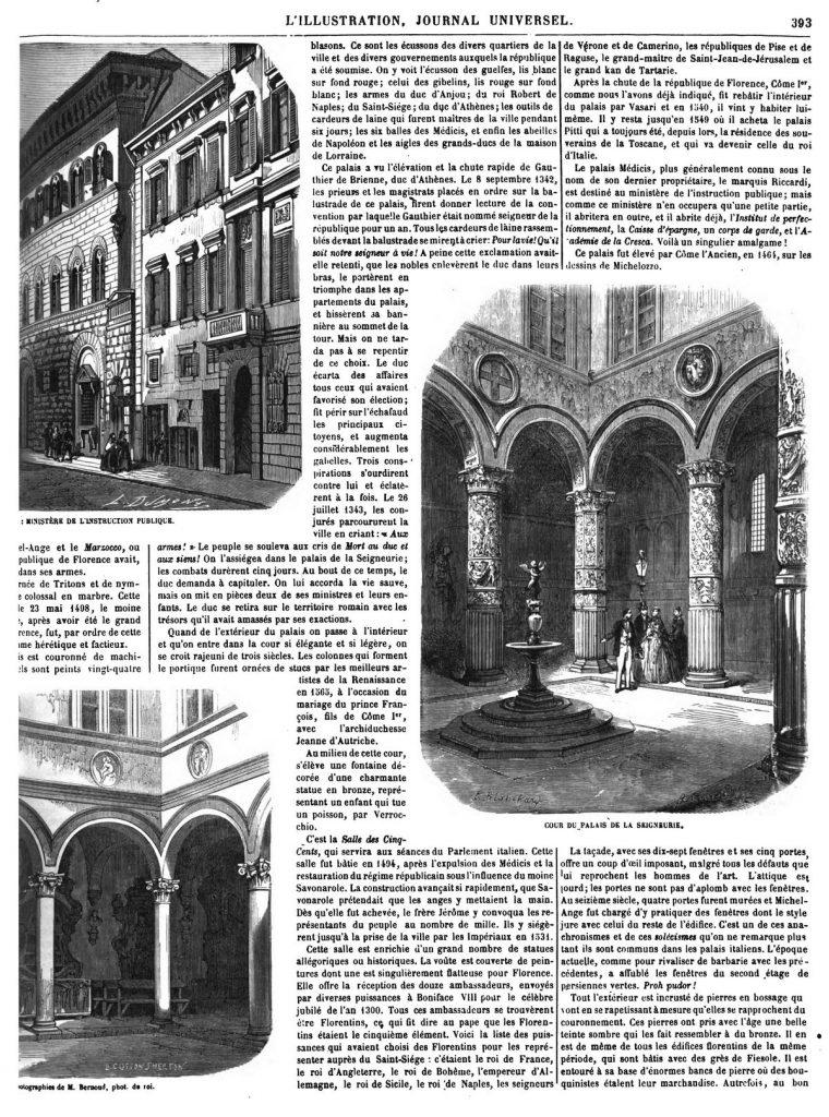 Les ministères du royaume d'Italie, à Florence (4 gravures).