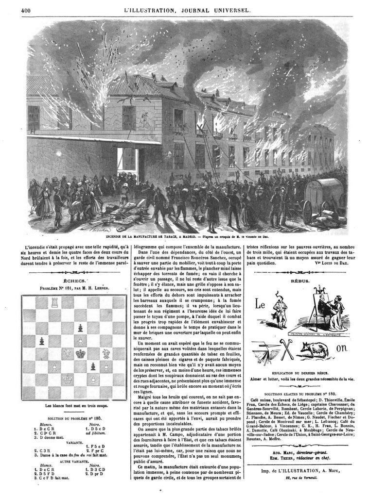 Incendie de la manufacture des tabacs, à Madrid.