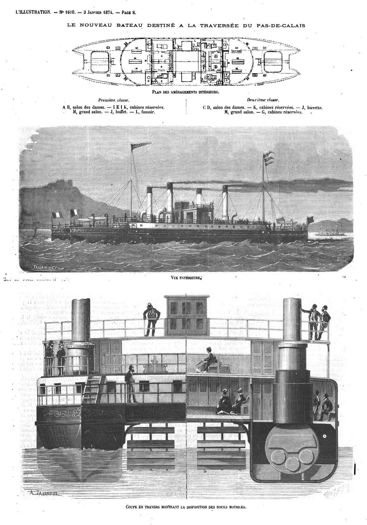 Le nouveau bateau destiné à la traversée du Pas-de-Calais (3 gravures).