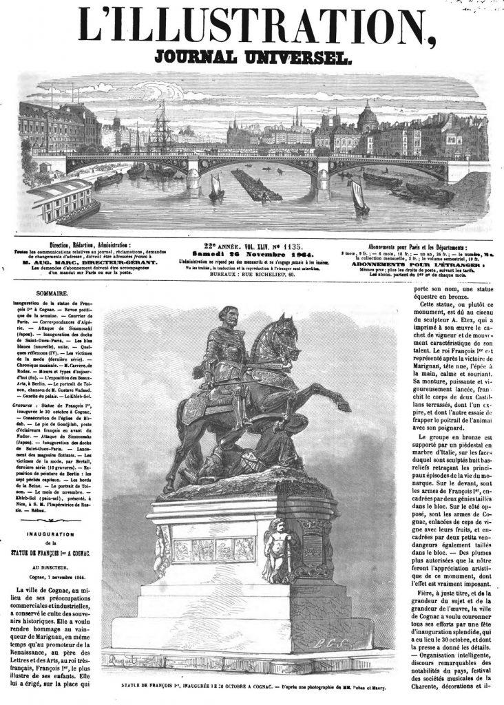 Statue de François 1er, inaugurée le 30 octobre à Cognac.