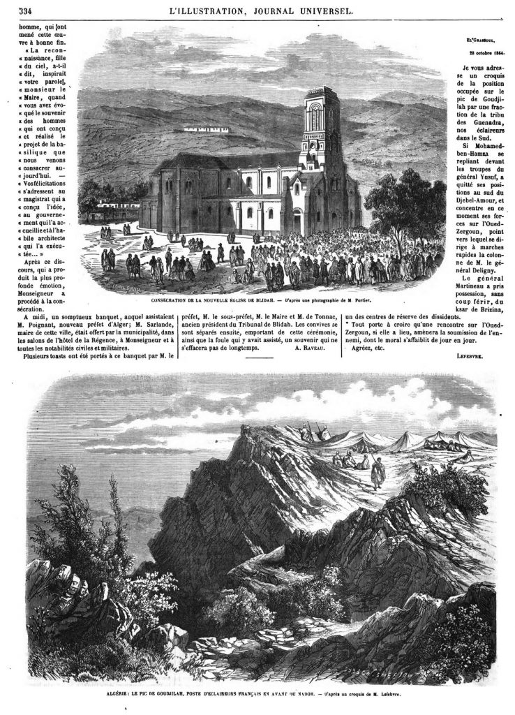Consécration de l'église de Blidah. — Le pic de Goudjilah, poste d'éclaireurs français en avant du Nador.