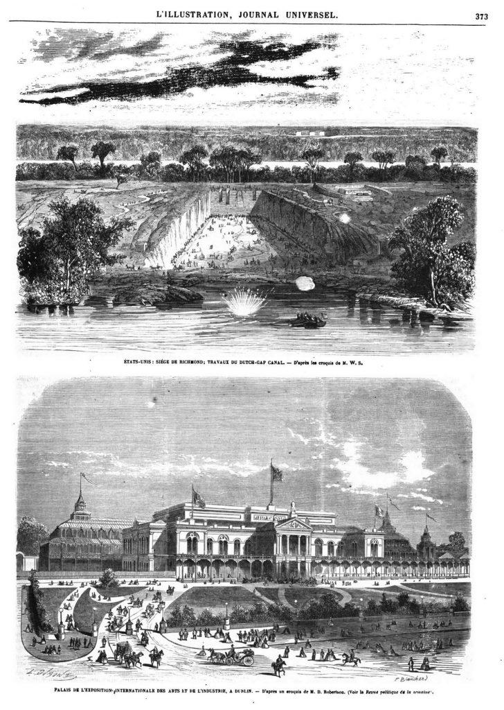 Correspondance des États-Unis (4 gravures). Palais de l'Exposition internationale des arts et de l'industrie, à Dublin.