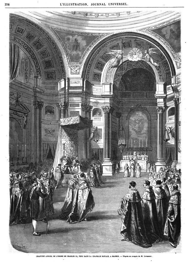 Chapitre annuel de l'ordre de Charles III, tenu dans la chapelle royale, à Madrid.