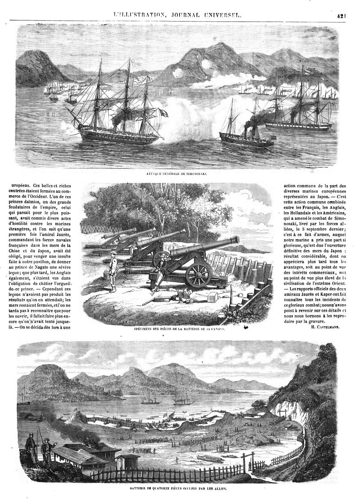 Combat de Simonosaki, au Japon (3 gravures).