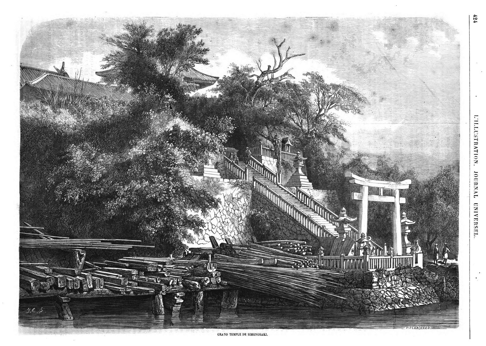 temple Simonosaki, au Japon 1864
