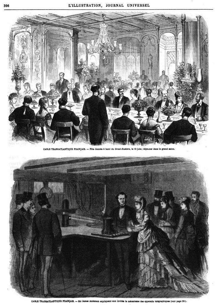 CABLE TRANSATLANTIQUE FRANÇAlS. — Sir James Anderson expliquant aux invités le mécanisme des appareils télégraphiques