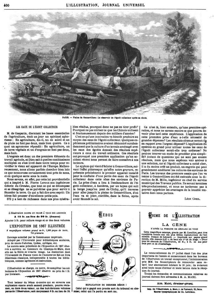 PARIS. - Plaine de Gennevillers : Le réservoir de l'égoût collecteur après sa chute. 1869