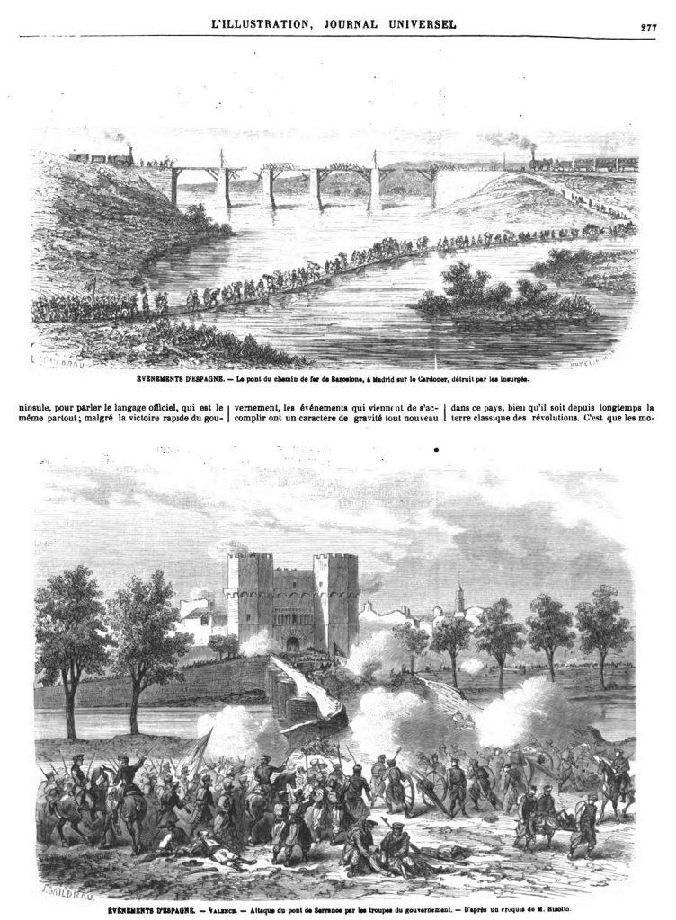 ÉVÉNEMENTS D'ESPAGNE. - Le pont du chemin de fer de Barcelone, à Madrid sur le Cardoner, détruit par les insurgés.