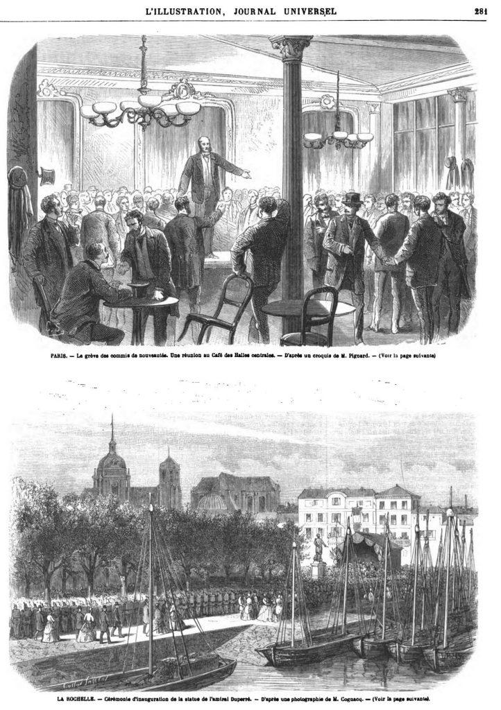 PARIS. - La grève des commis de nouveautés. Une réunion au Café des Halles centrales. - D'après un croquis de M. Pignard.