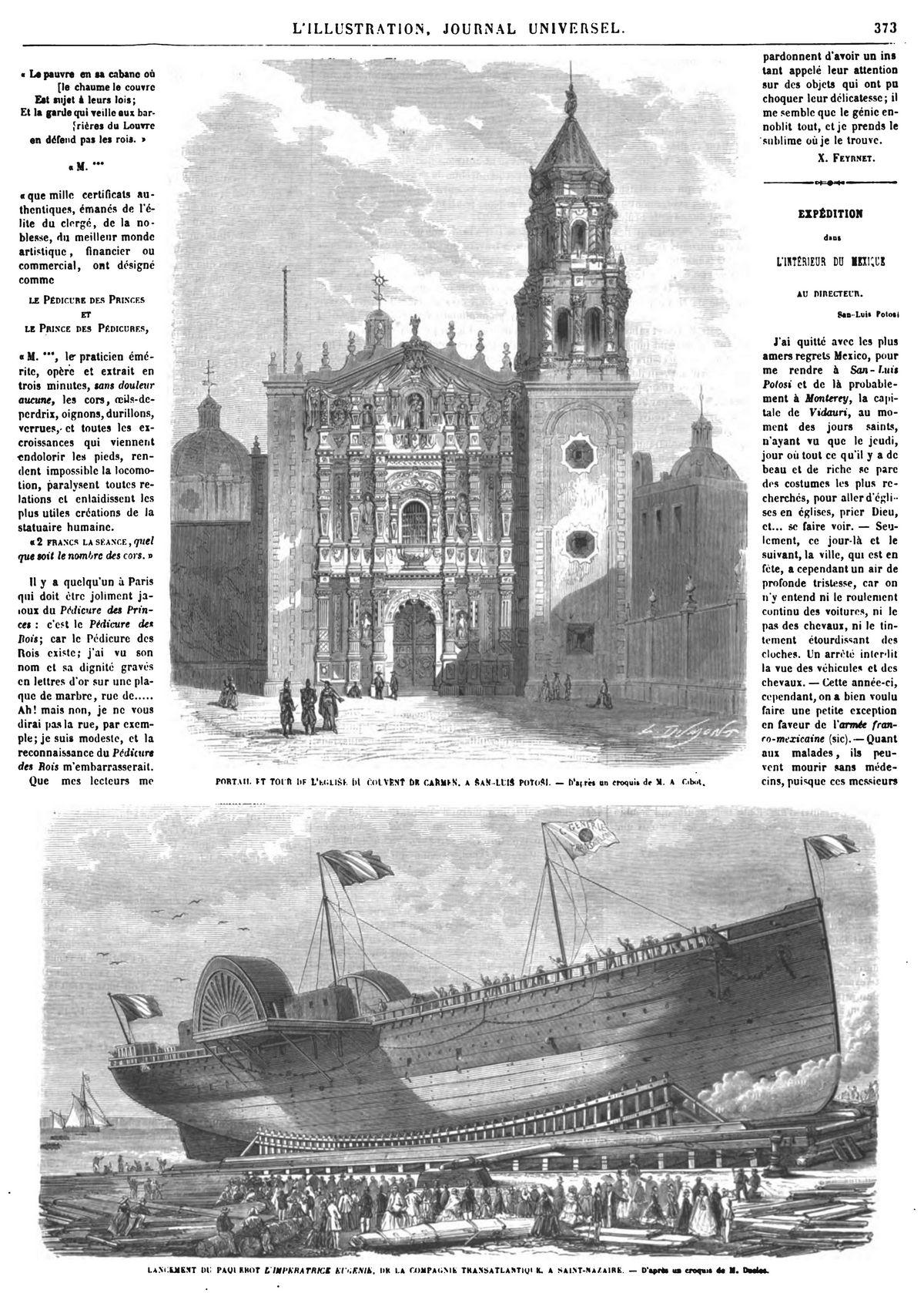 Lancement du paquebot Impératrice-Eugénie, à Saint-Nazaire. 1864