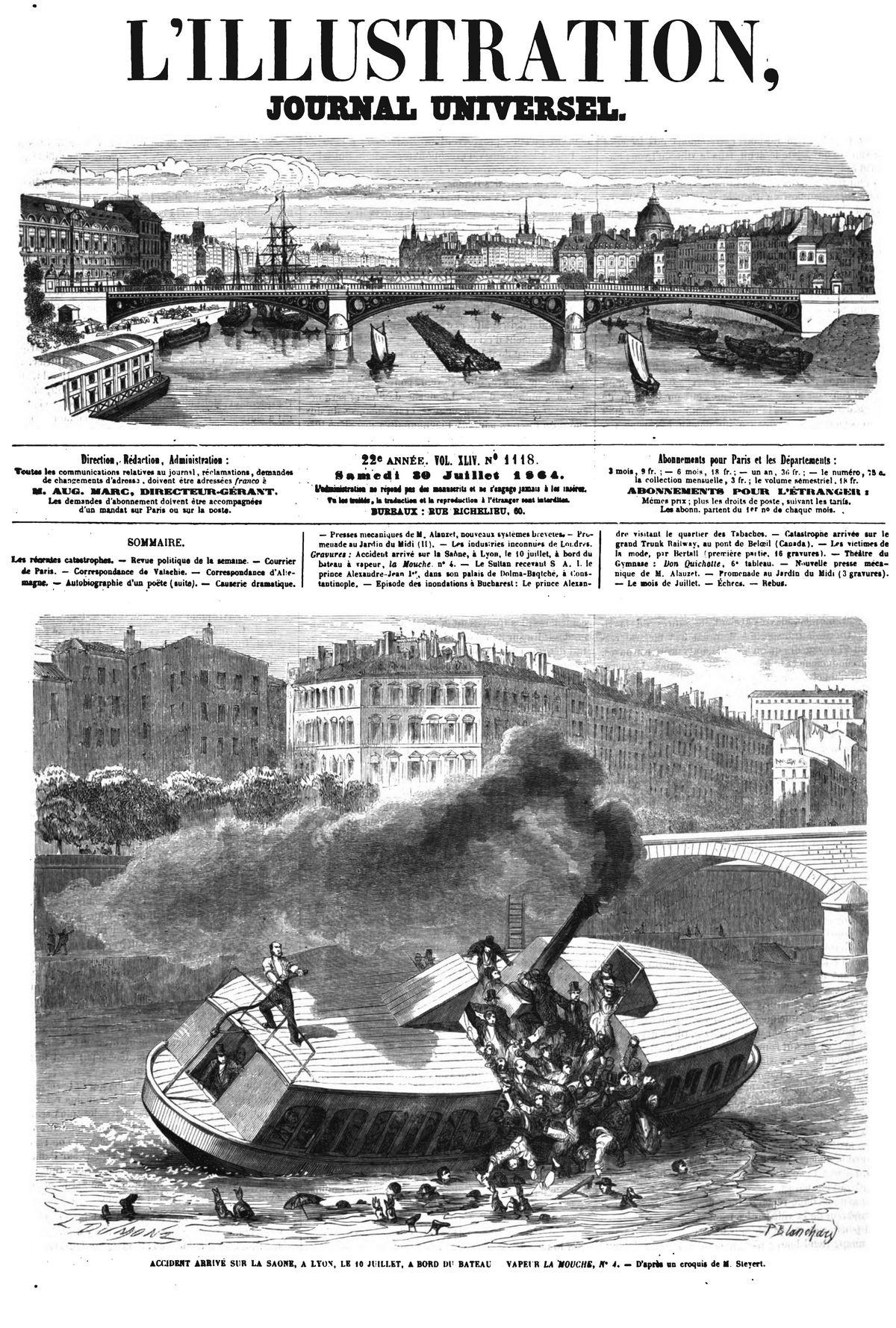 Accident arrivé sur la Saone, à Lyon, le 10 juillet, à bord du bateau à vapeur, la Mouche.