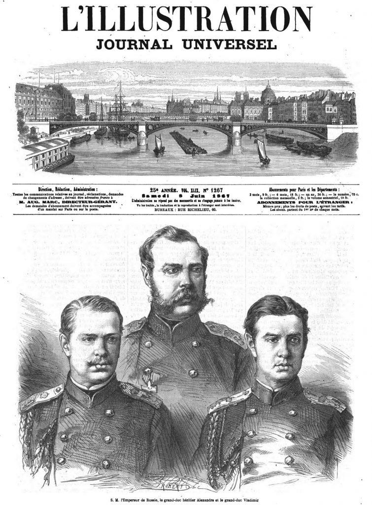 S. M. l'Empereur de Russie, le grand-duc héritier Alexandre et le grand-duc Wladimir.