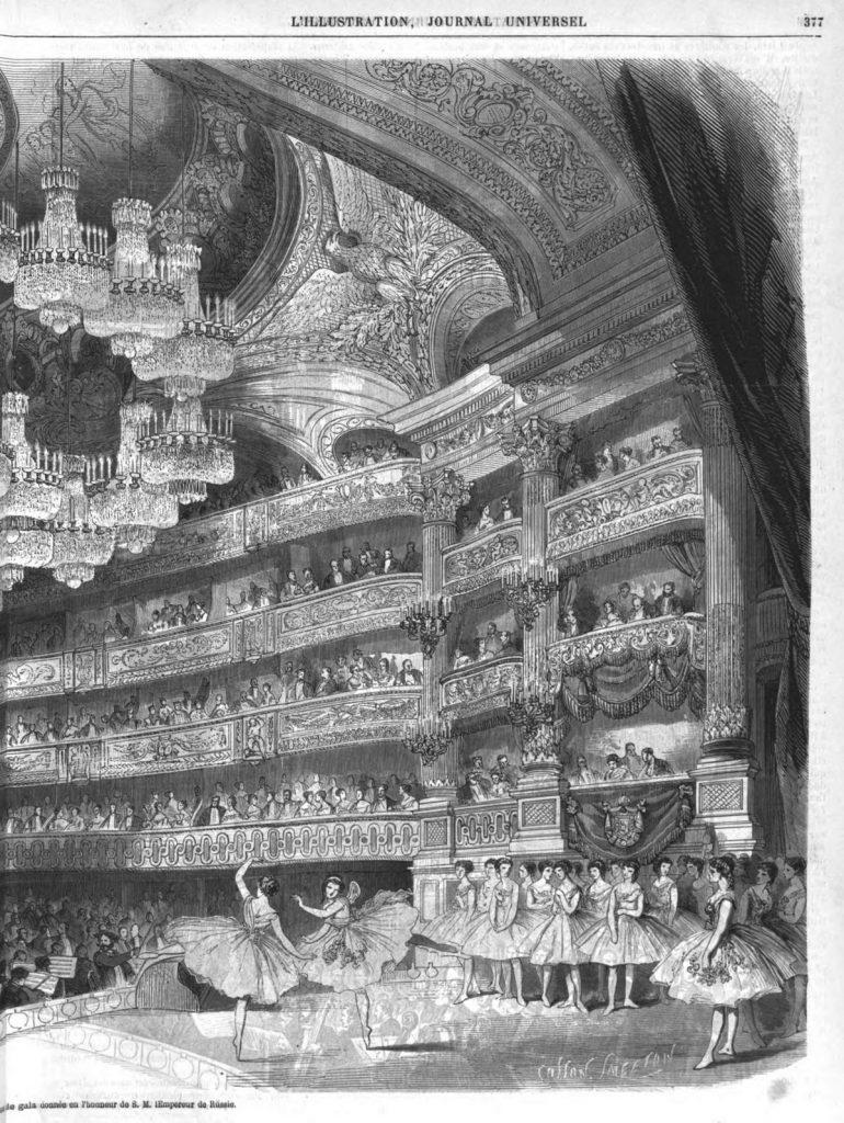 Aspect de la salle de l'Opéra le jour de la représentation. de gala.