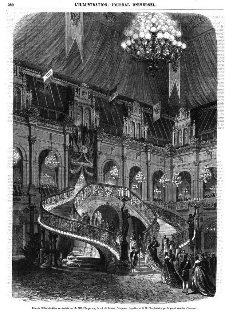 Fête de l'Hôtel-de-Ville : Arrivée de LL. MM. par le grand escalier d'honneur.