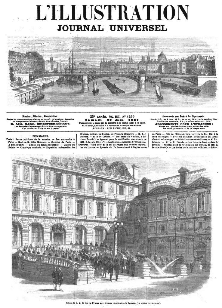 Visite de S. M. le roi de Prusse aux écuries impériales du Louvre