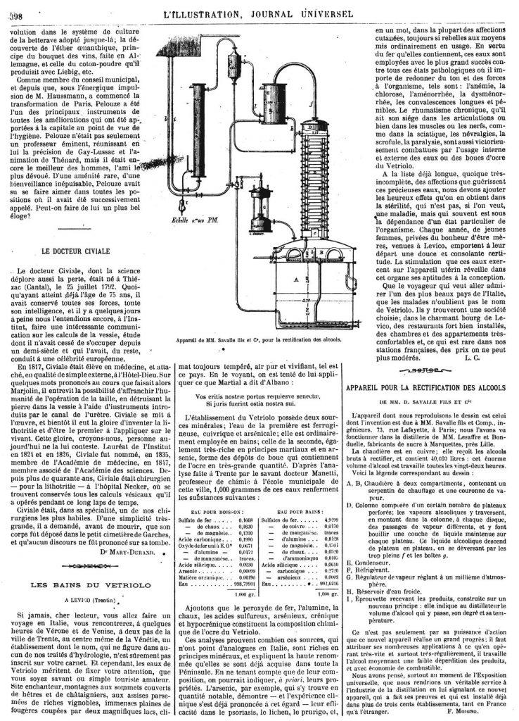Appareil pour la rectification des alcools, de MM. D. Savalle fils et Cle. 1867