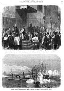 TOULON. - Arrivée en rade de S, A. le vice-roi d'Égypte, le 15 juin 1867. (Voir page 406. ) - D'après un croquis de M. Letuaire.,