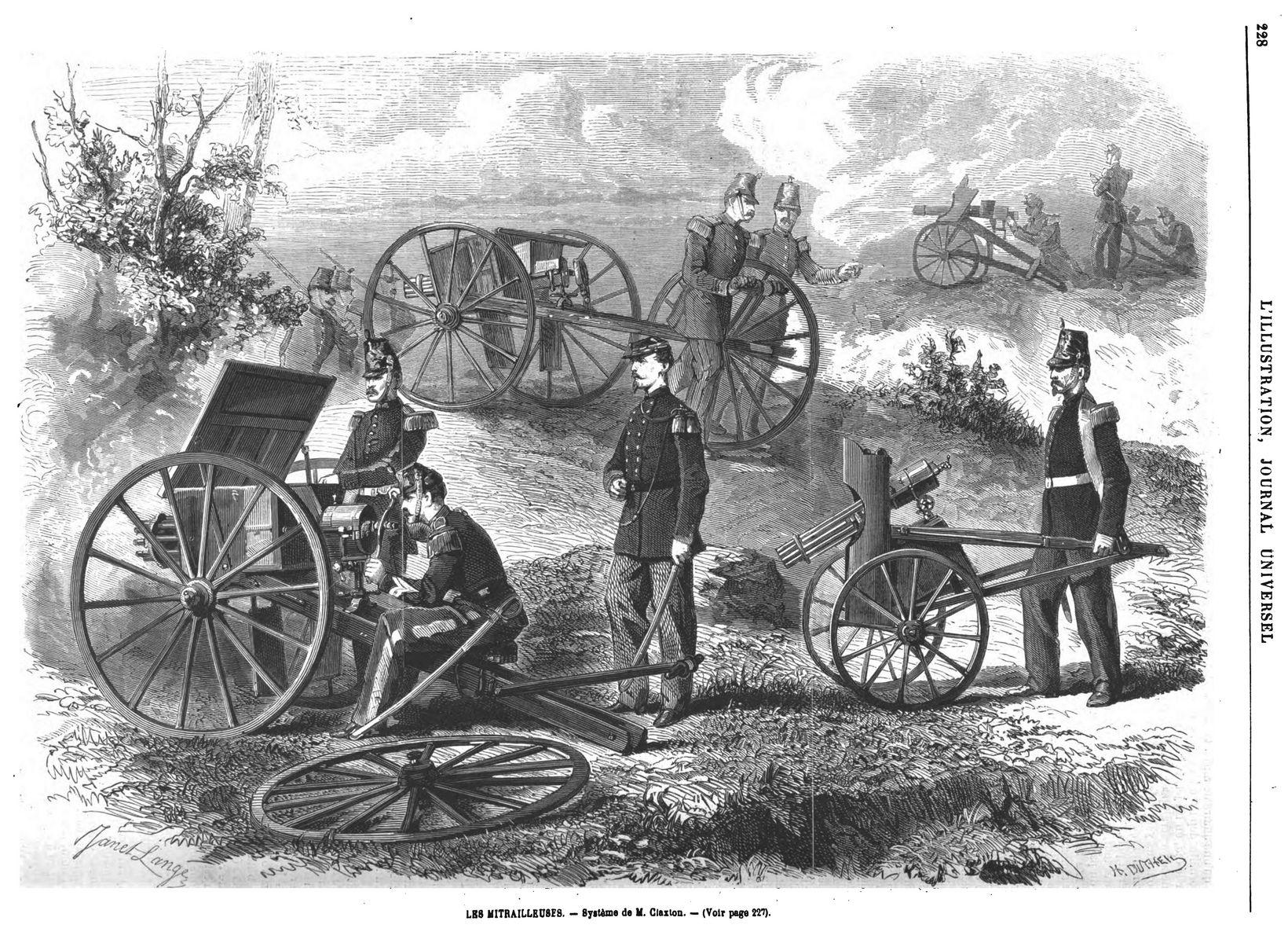 La mitrailleuse Claxton 1869. gravure